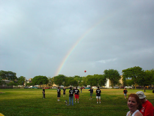 Rainbow over kickball