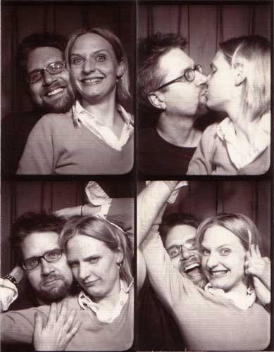 Fuzzy and Erica in a photobooth