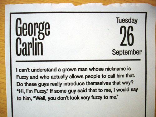 George Carlin on Fuzzy
