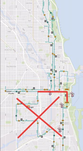 Fuzzy's Marathon route