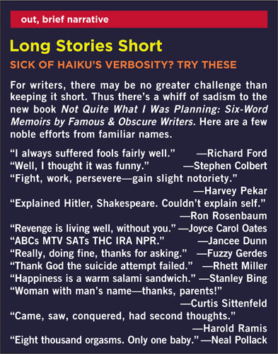 Playboy, February 2008 - Six Word Memoirs
