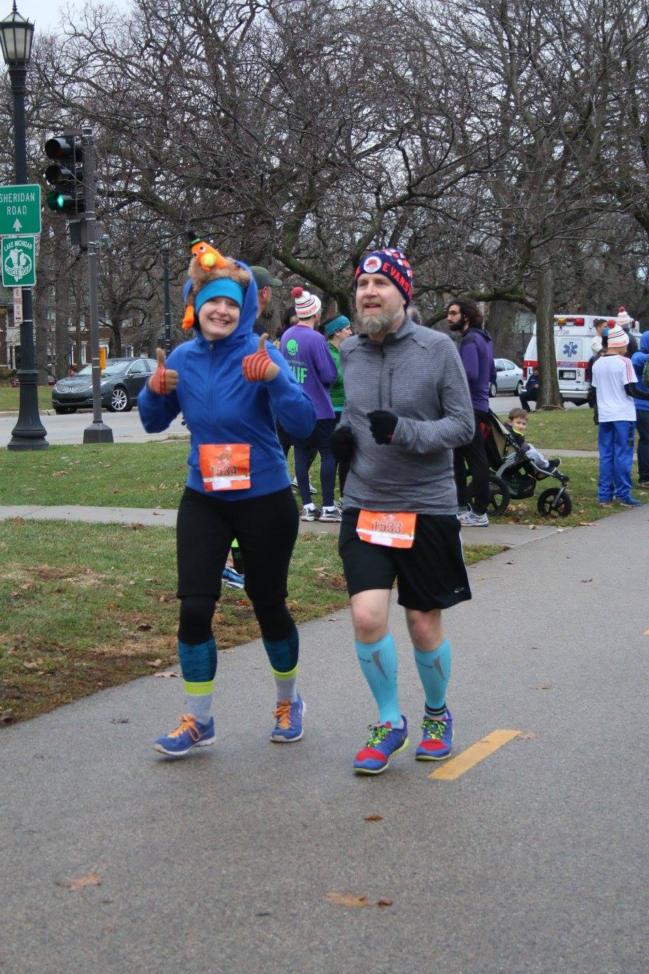 Erica and Fuzzy at the Evanston Flying Turkey 5K