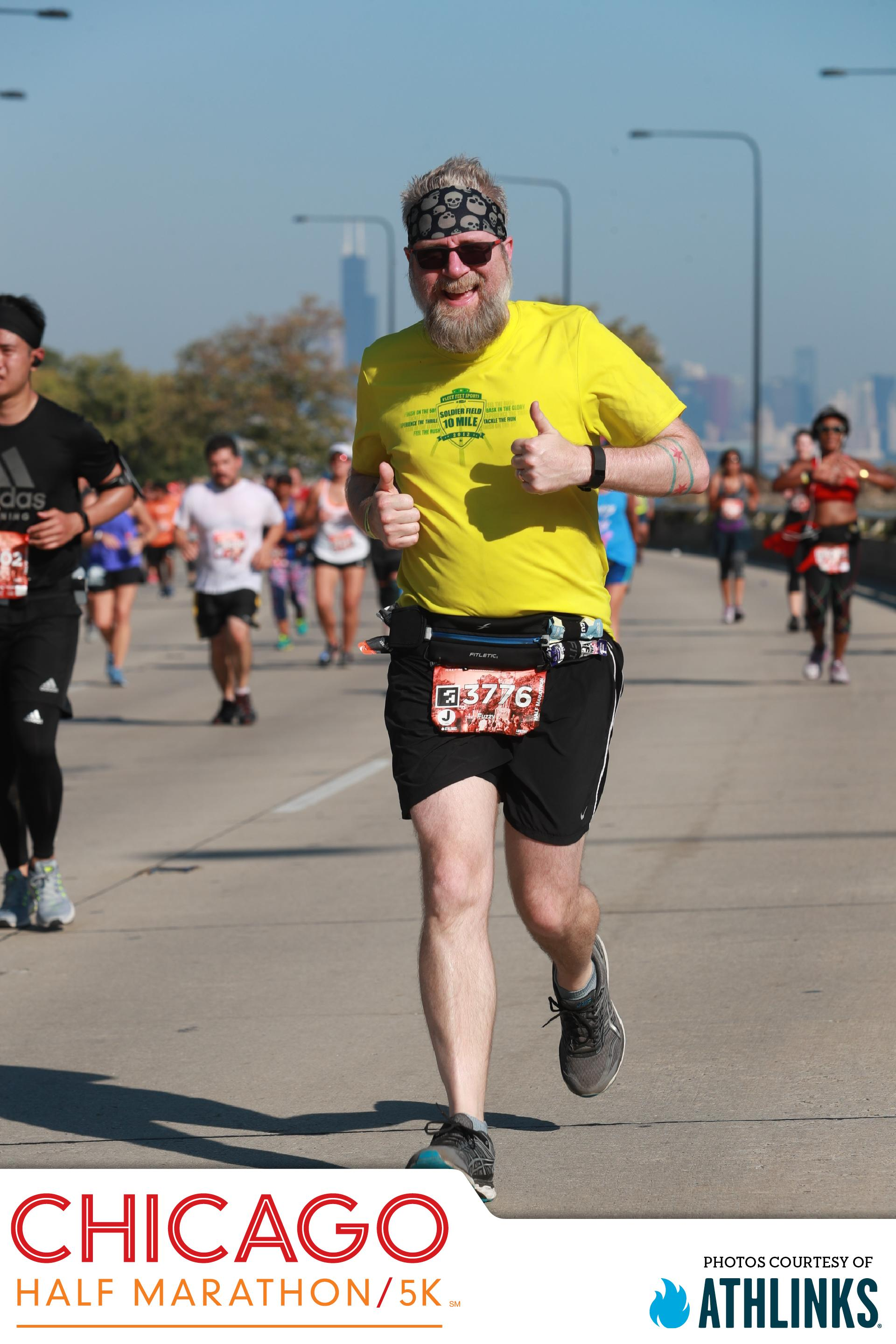 Fuzzy running the Chicago Half-Marathon