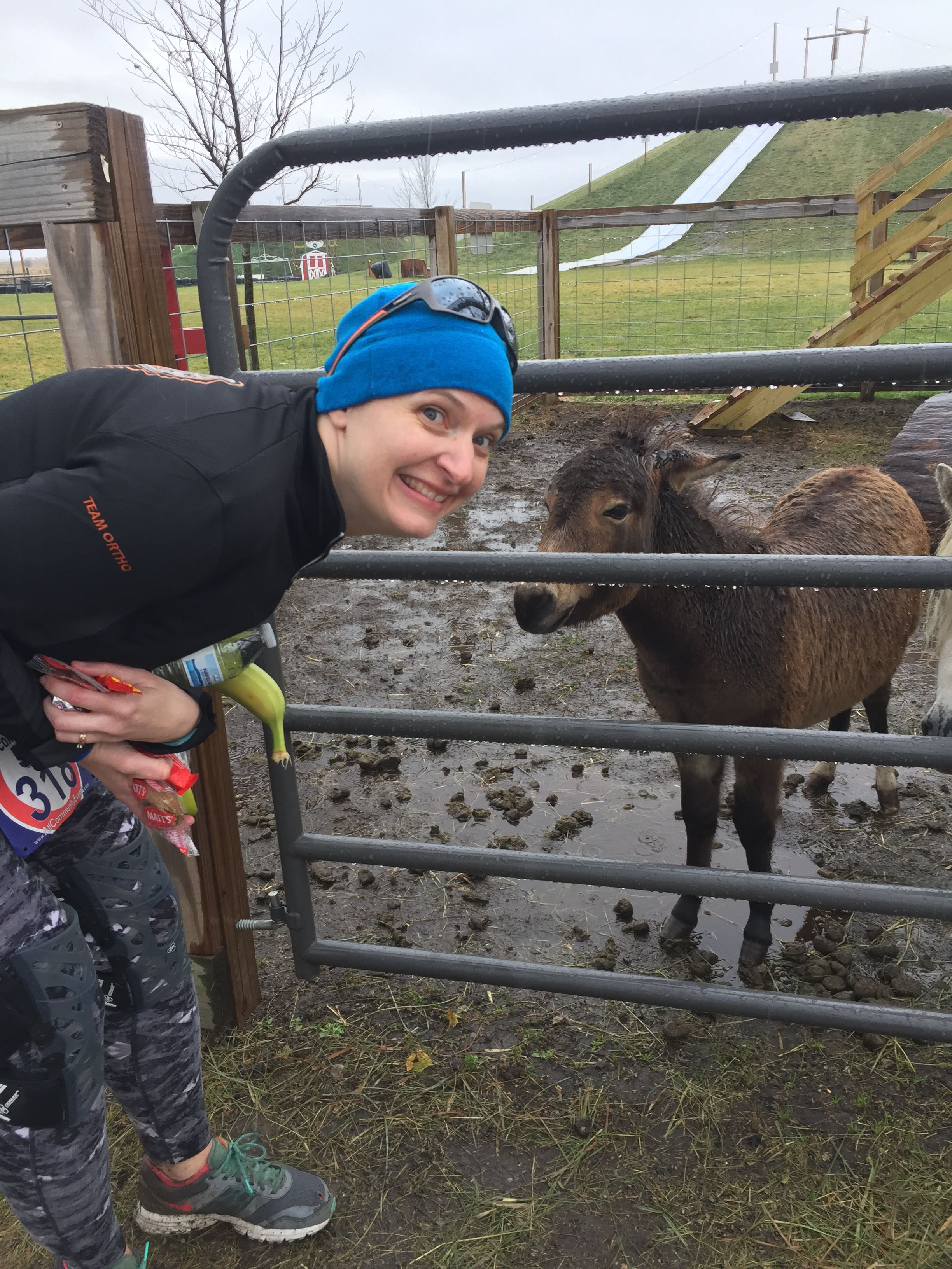Erica and a wet donkey