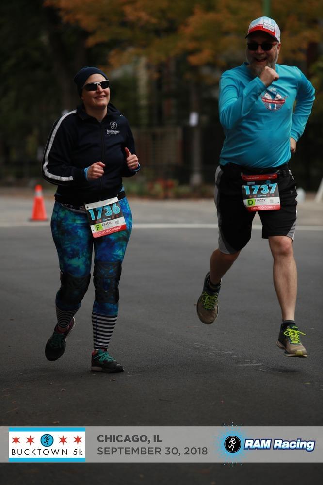 Erica and Fuzzy running the Bucktown 5K