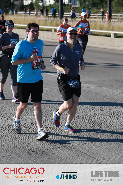 Steve and Fuzzy running the Chicago Half-Marathon
