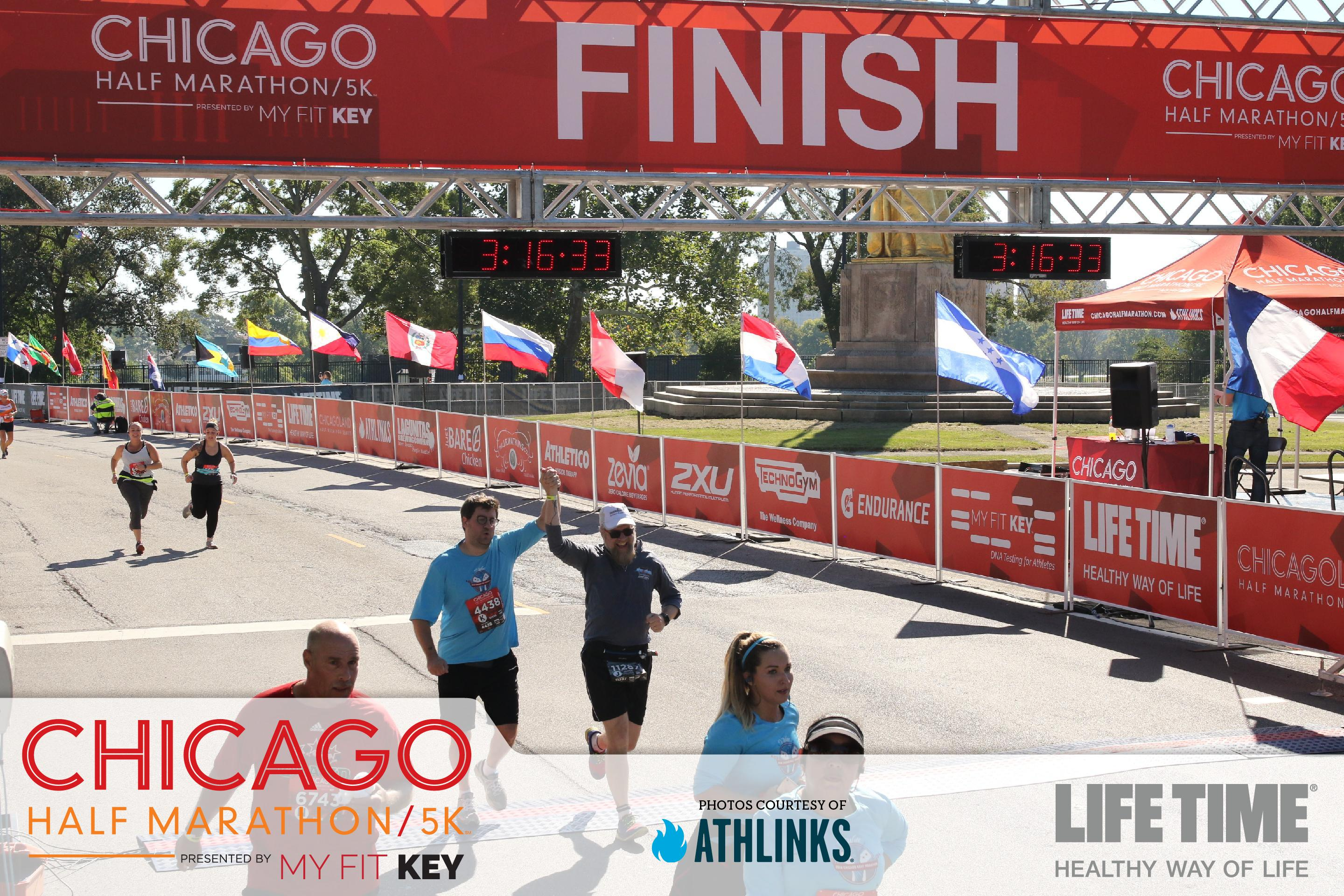 Steve and Fuzzy finishing the Chicago Half-Marathon