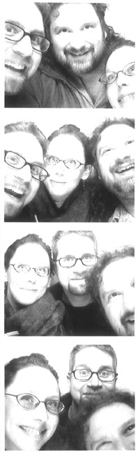 Karl, Maria, and Fuzzy in a photo-booth